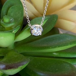 LaFonn Platinum Plated Solitaire Necklace - NEW!